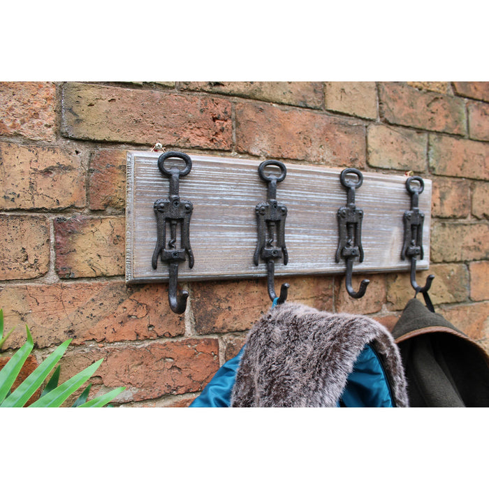 Rustic Cast Iron and Wooden Wall Hooks & Bottle Openers (4 hooks) - Simply Utopia