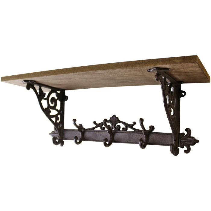 Wooden Wall Shelf with Cast Iron Coat Hooks - Simply Utopia