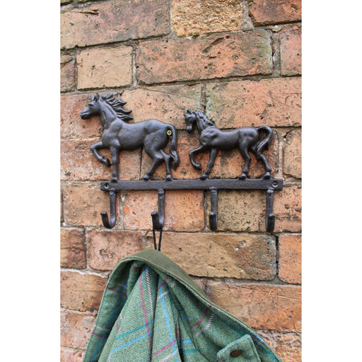 Rustic Cast Iron Wall Hooks, Two Horses - Simply Utopia