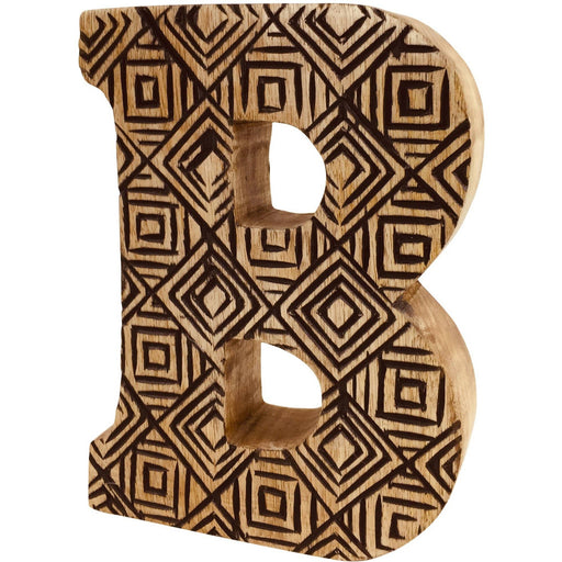 Hand Carved Wooden Geometric Letter B - Simply Utopia