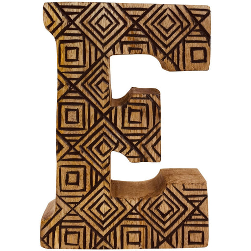 Hand Carved Wooden Geometric Letter E - Simply Utopia