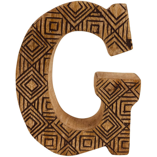 Hand Carved Wooden Geometric Letter G - Simply Utopia