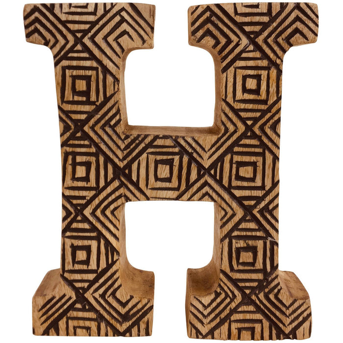 Hand Carved Wooden Geometric Letter H - Simply Utopia