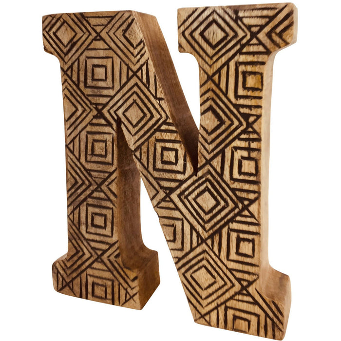 Hand Carved Wooden Geometric Letter N - Simply Utopia