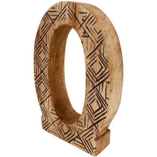 Hand Carved Wooden Geometric Letter O - Simply Utopia