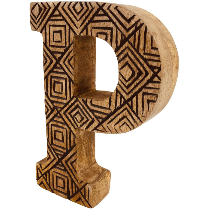 Hand Carved Wooden Geometric Letter P - Simply Utopia