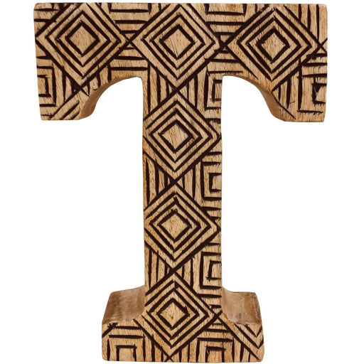 Hand Carved Wooden Geometric Letter T - Simply Utopia