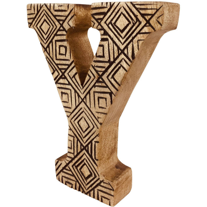 Hand Carved Wooden Geometric Letter Y - Simply Utopia