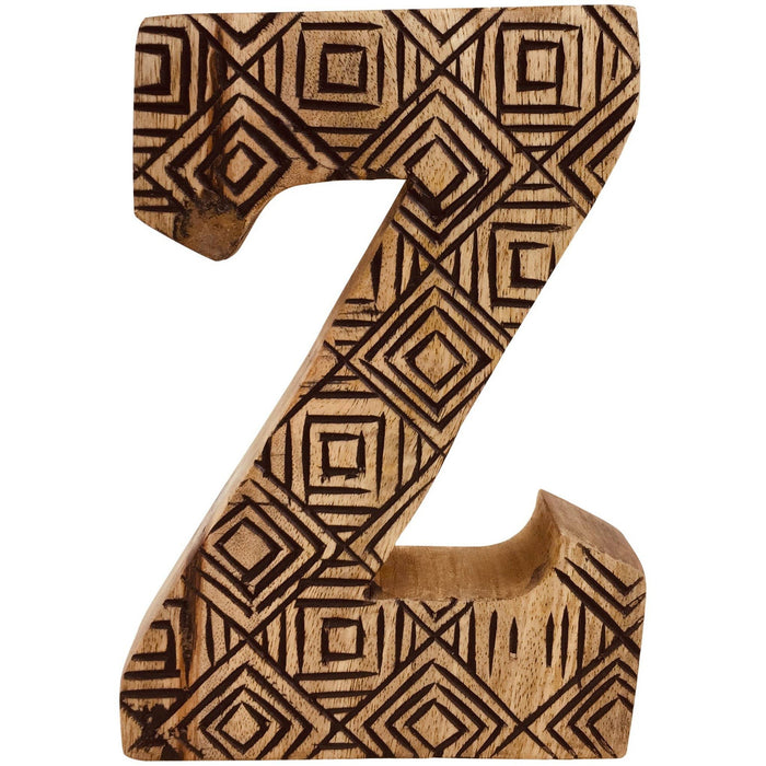 Hand Carved Wooden Geometric Letter Z - Simply Utopia