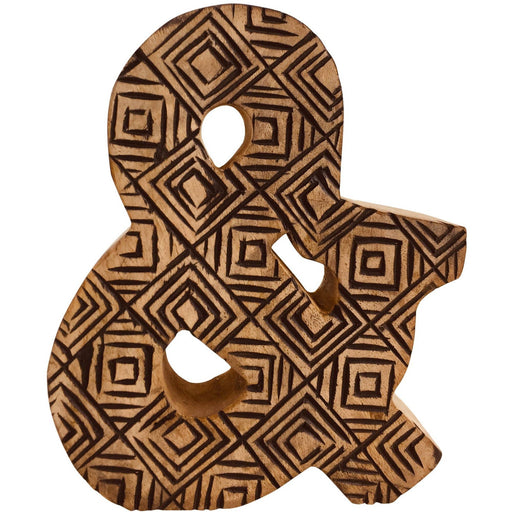Hand Carved Wooden Geometric Letter & - Simply Utopia
