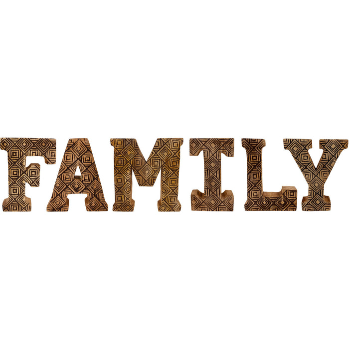Hand Carved Wooden Geometric Letters Family - Simply Utopia