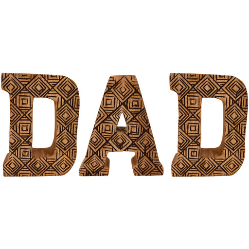 Hand Carved Wooden Geometric Letters Dad - Simply Utopia