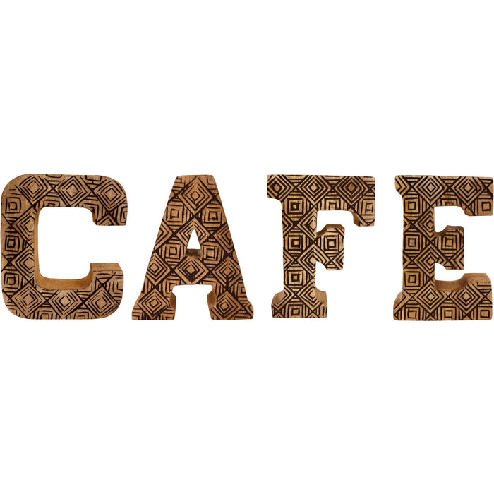Hand Carved Wooden Geometric Letters Cafe - Simply Utopia
