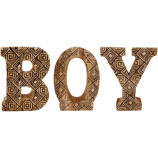 Hand Carved Wooden Geometric Letters Boy - Simply Utopia