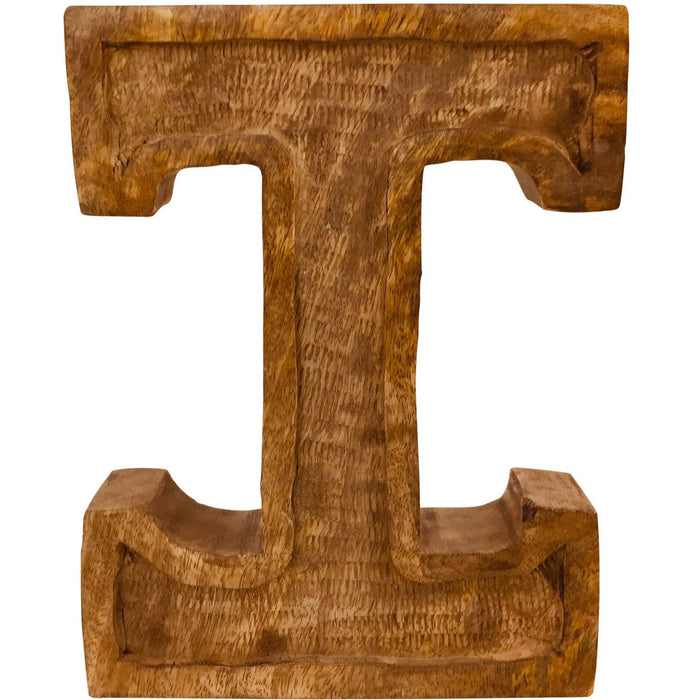 Hand Carved Wooden Embossed Letter I - Simply Utopia