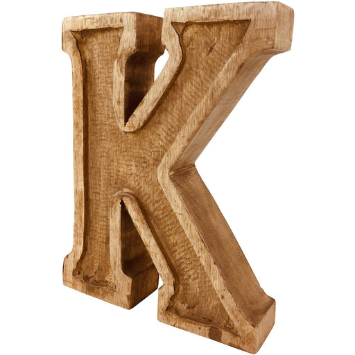 Hand Carved Wooden Embossed Letter K - Simply Utopia