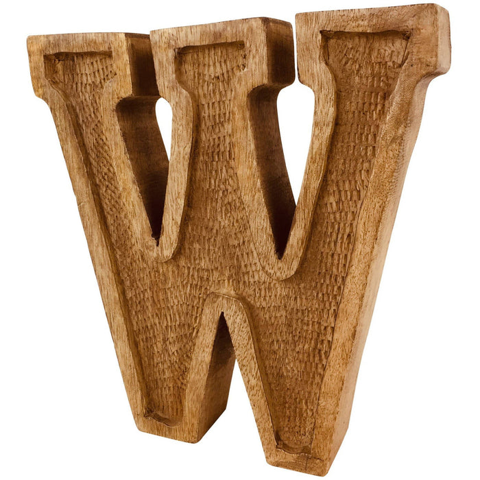 Hand Carved Wooden Embossed Letter W - Simply Utopia