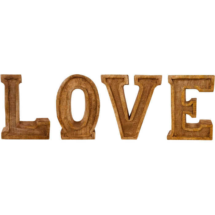 Hand Carved Wooden Embossed Letters Love - Simply Utopia