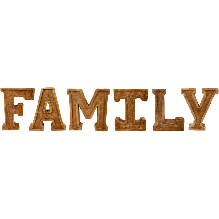 Hand Carved Wooden Embossed Letters Family - Simply Utopia