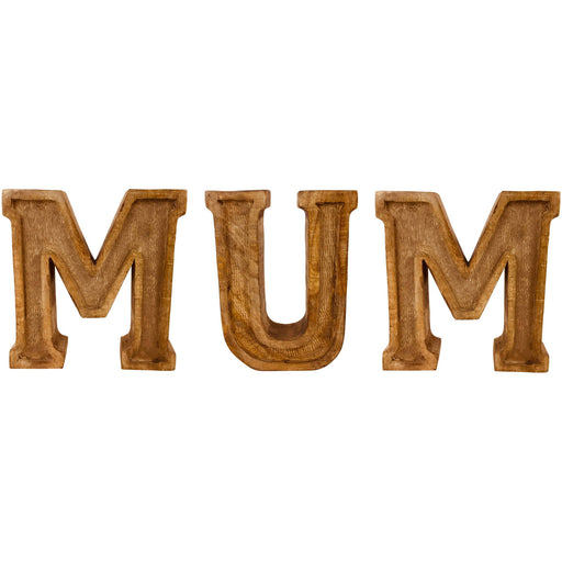 Hand Carved Wooden Embossed Letters Mum - Simply Utopia