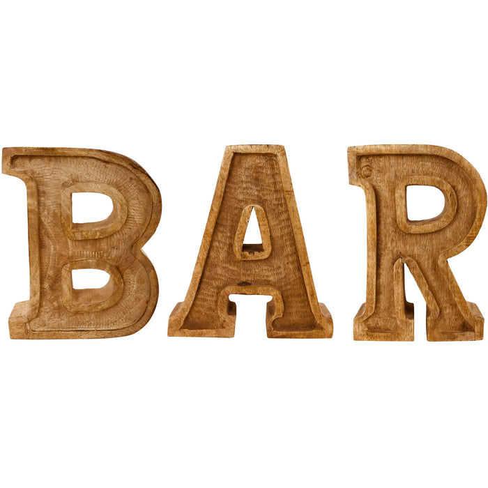 Hand Carved Wooden Embossed Letters Bar - Simply Utopia