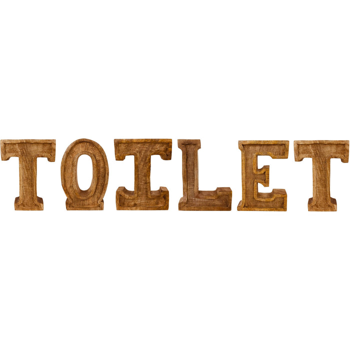 Hand Carved Wooden Embossed Letters Toilet - Simply Utopia