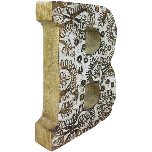 Hand Carved Wooden White Flower Letter B - Simply Utopia