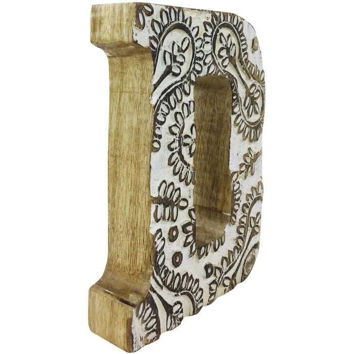 Hand Carved Wooden White Flower Letter D - Simply Utopia