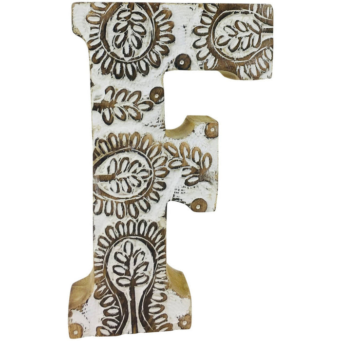 Hand Carved Wooden White Flower Letter F - Simply Utopia