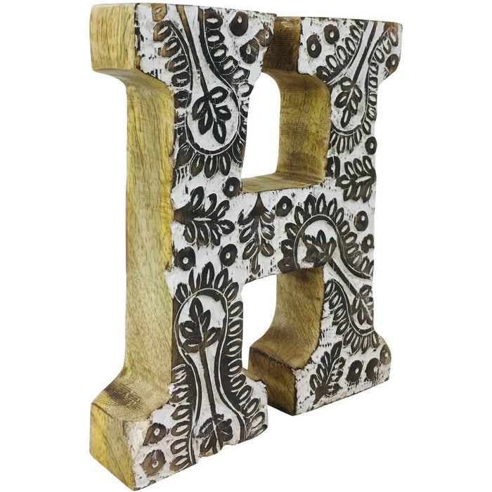 Hand Carved Wooden White Flower Letter H - Simply Utopia