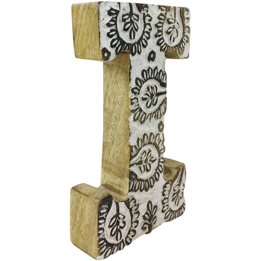 Hand Carved Wooden White Flower Letter I - Simply Utopia
