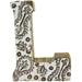 Hand Carved Wooden White Flower Letter L - Simply Utopia