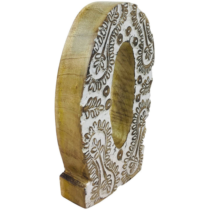 Hand Carved Wooden White Flower Letter O - Simply Utopia