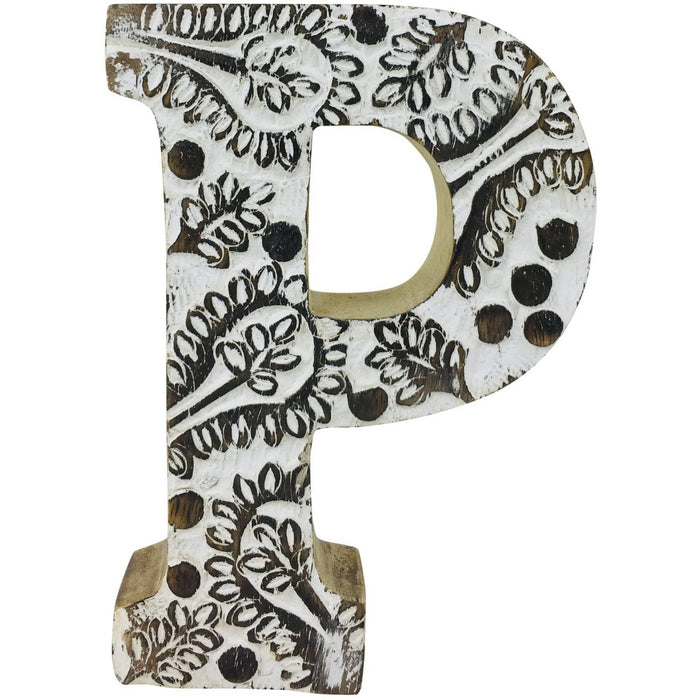 Hand Carved Wooden White Flower Letter P - Simply Utopia