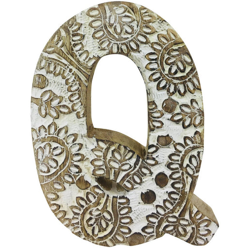 Hand Carved Wooden White Flower Letter Q - Simply Utopia
