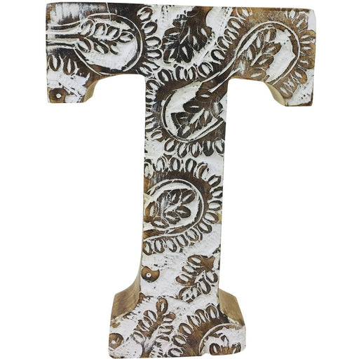 Hand Carved Wooden White Flower Letter T - Simply Utopia