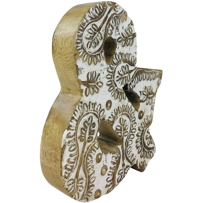 Hand Carved Wooden White Flower Letter & - Simply Utopia