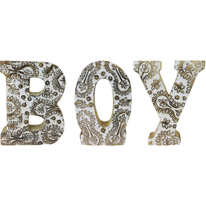 Hand Carved Wooden White Flower Letters Boy - Simply Utopia
