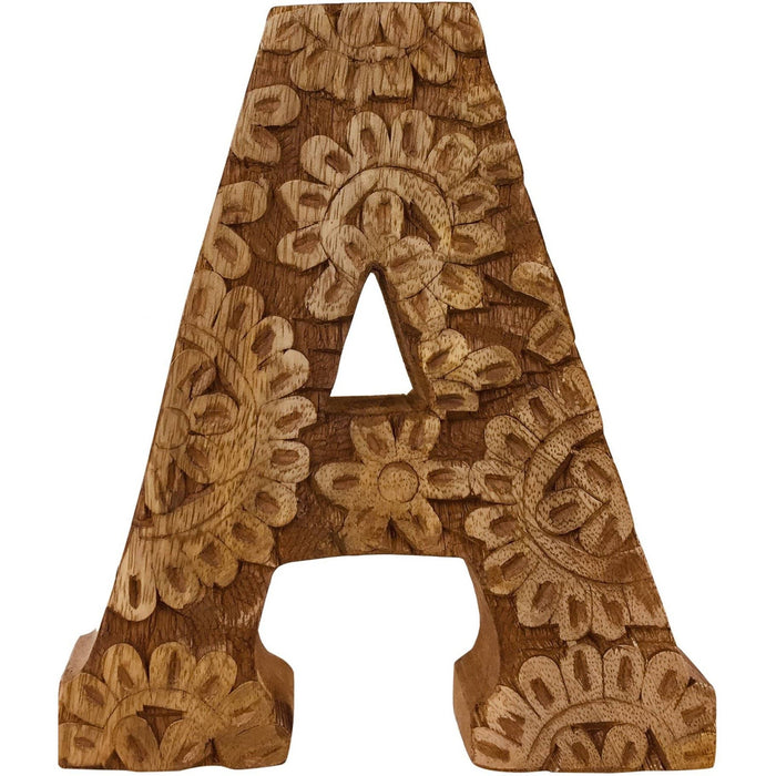 Hand Carved Wooden Flower Letter A - Simply Utopia