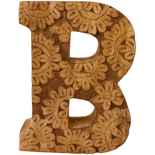 Hand Carved Wooden Flower Letter B - Simply Utopia