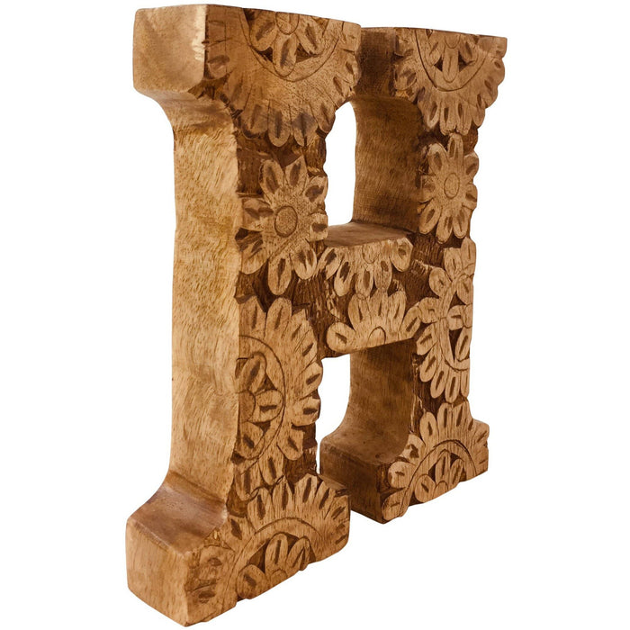 Hand Carved Wooden Flower Letter H - Simply Utopia