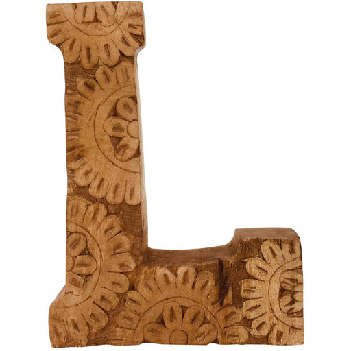 Hand Carved Wooden Flower Letter L - Simply Utopia
