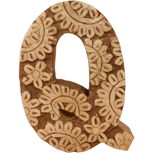 Hand Carved Wooden Flower Letter Q - Simply Utopia