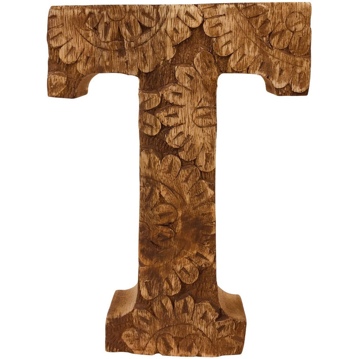 Hand Carved Wooden Flower Letter T - Simply Utopia