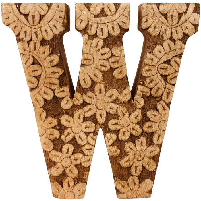 Hand Carved Wooden Flower Letter W - Simply Utopia