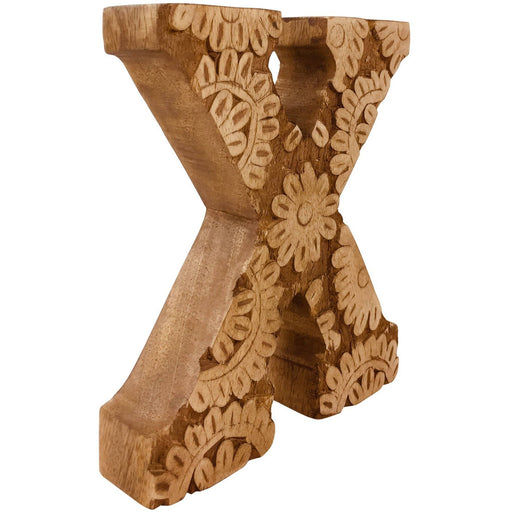 Hand Carved Wooden Flower Letter X - Simply Utopia