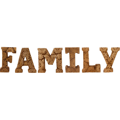 Hand Carved Wooden Flower Letters Family - Simply Utopia