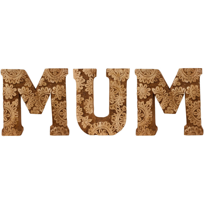 Hand Carved Wooden Flower Letters Mum - Simply Utopia