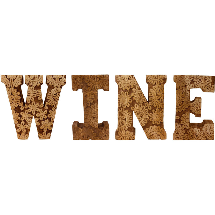 Hand Carved Wooden Flower Letters Wine - Simply Utopia