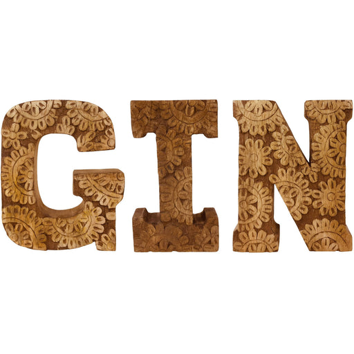 Hand Carved Wooden Flower Letters Gin - Simply Utopia
